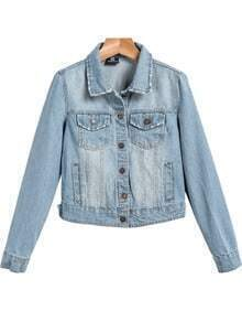 Blue Lapel Long Sleeve Bleached Crop Jacket