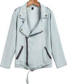 Blue Long Sleeve Zipper Belt Denim Jacket