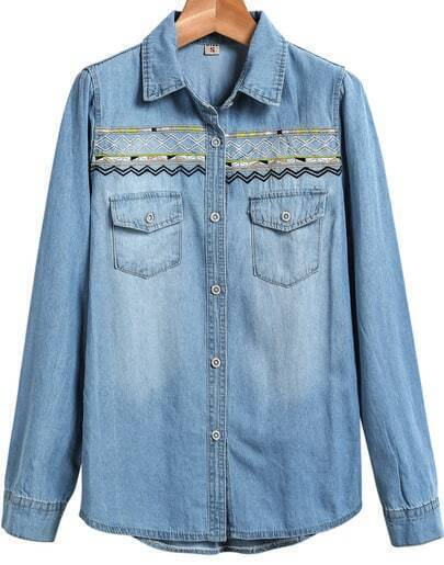 Blue Long Sleeve Bleached Embroidered Denim Jacket