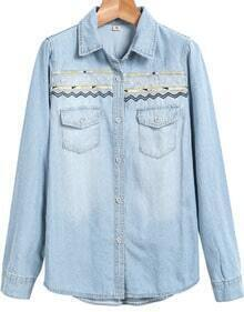 Light Blue Long Sleeve Bleached Embroidered Denim Jacket