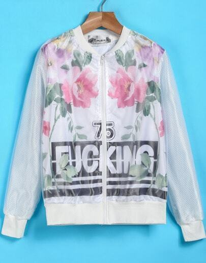 White Long Sleeve Floral Letters Print Jacket