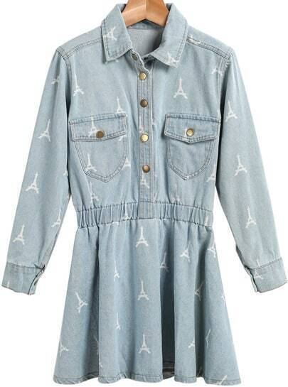 Blue Lapel Long Sleeve Pylon Print Denim Dress