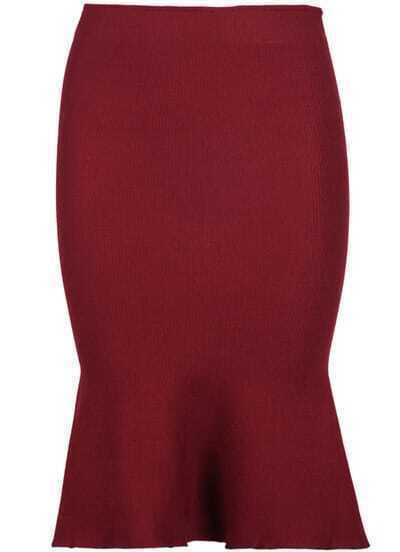 Wine Red Ruffle Bodycon Knit Skirt