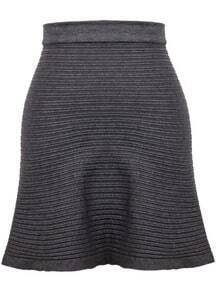 Grey Striped Knit Skirt