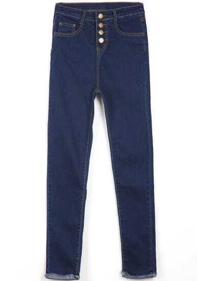 Blue Pockets Buttons Denim Pant