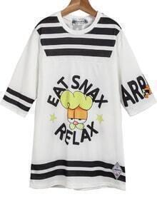White Short Sleeve Garfield Print Loose T-Shirt