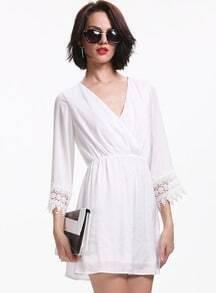 White Long Sleeve V Neck Contrast Lace Dress