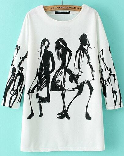 White Long Sleeve Graffiti Print Loose Blouse