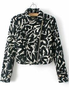 Black Long Sleeve Graffiti Print Crop Jacket
