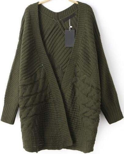 Green Long Sleeve Cable Knit Cardigan