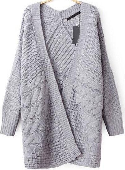 Grey Long Sleeve Cable Knit Cardigan