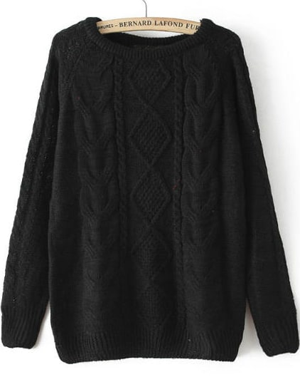 Black Long Sleeve Cable Knit Loose SweaterBlack Long Sleeve Cable Knit Loose Sweater<br><br>color: Black<br>size: one-size
