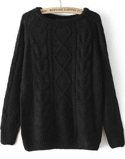 Black Long Sleeve Cable Knit Loose Sweater