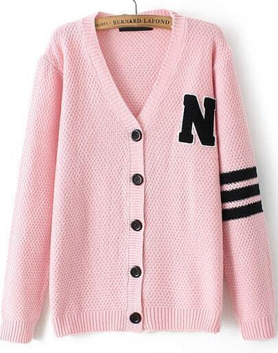Pink V Neck Long Sleeve N Pattern Knit Cardigan
