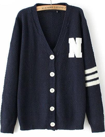 Black V Neck Long Sleeve N Pattern Knit Cardigan