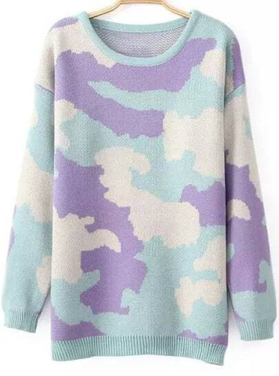 Purple Long Sleeve Camouflage Loose Sweater