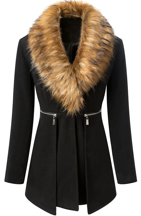 Black Fur Collar Long Sleeve Zipper Woolen Coat -SheIn(Sheinside)