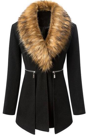 Black Fur Collar Long Sleeve Zipper Woolen Coat