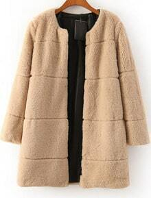 Khaki Long Sleeve Faux Fur Coat