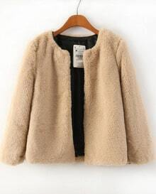 Khaki Long Sleeve Faux Fur Crop Coat