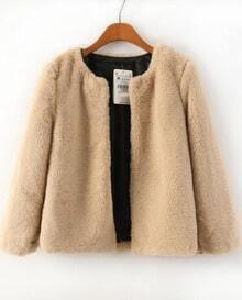 Khaki Long Sleeve Faux Fur Crop Coat