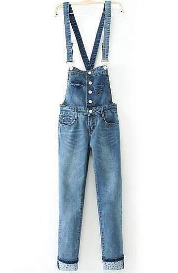 Blue Strap Buttons Pockets Elastic Denim Jumpsuit