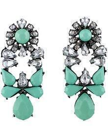 Green White Drop Gemstone Silver Earrings