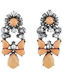 Apricot White Drop Gemstone Silver Earrings