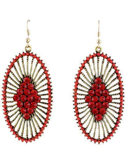 Red Diamond Gold Hollow Dangle Earrings