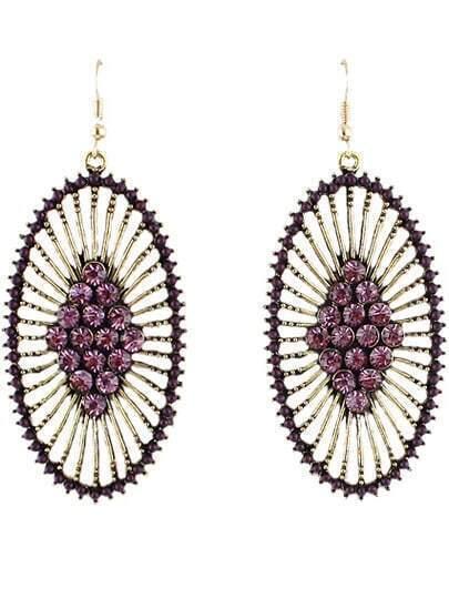 Purple Diamond Gold Hollow Dangle Earrings