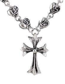 Silver Hearts Cross Necklace