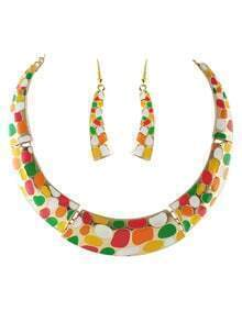 Multicolor Glaze Gold Collar Necklace With Earrings