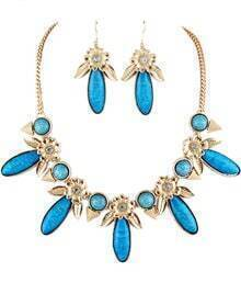 Blue Gemstone Gold Flowers Necklace With Earrings