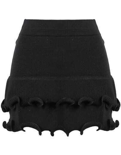 Black Ruffle Bodycon Knit Skirt