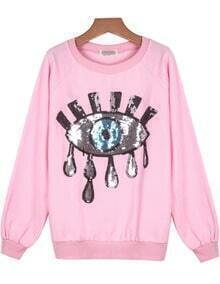 Pink Long Sleeve Sequined Eye Pattern Sweatshirt