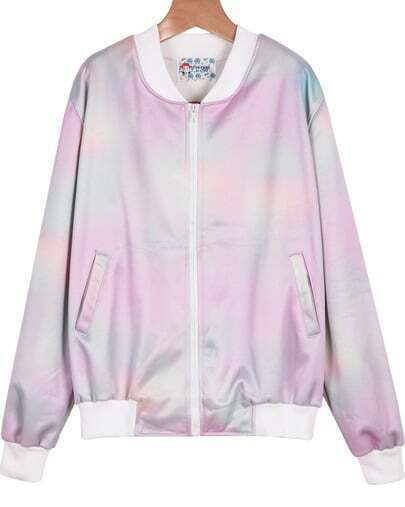 Pink Long Sleeve Rainbow Embroidered Jacket