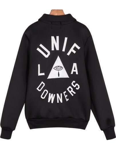 Black Long Sleeve UNIF Triangle Print Jacket