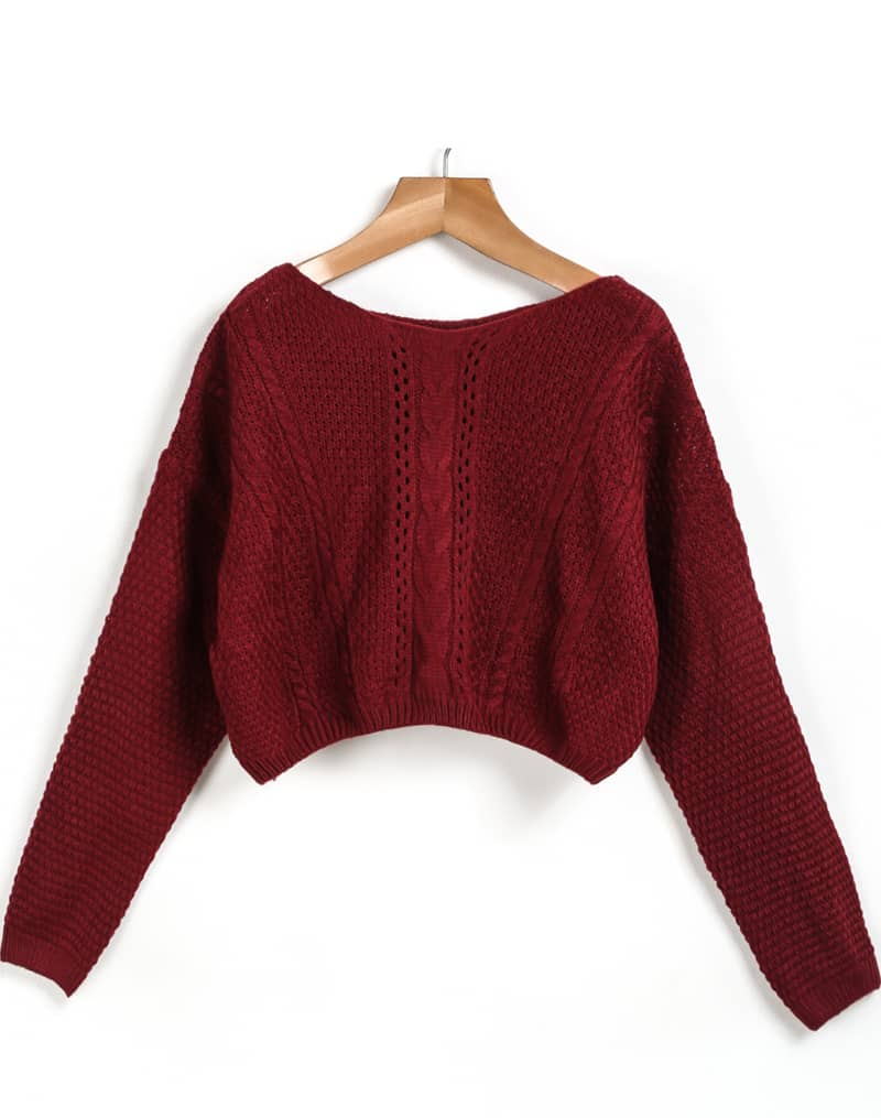 Red Long Sleeve Cable Knit Crop Sweater -SheIn(Sheinside)