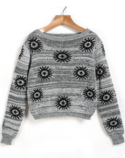 Grey Long Sleeve Eye Pattern Knit Sweater