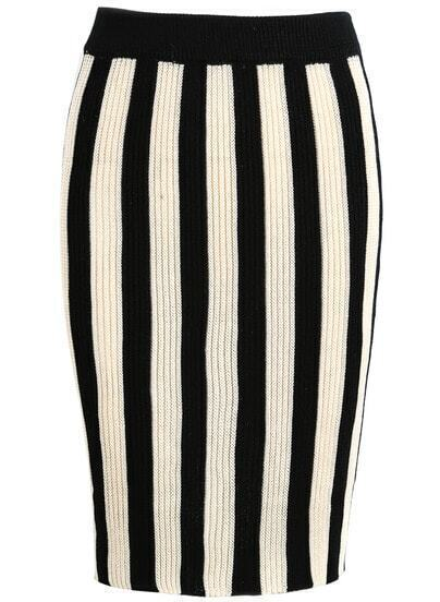 Black Apricot Vertical Stripe Knit Skirt