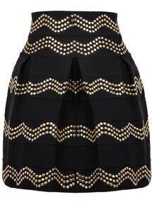 Black Rivet Striped Skirt