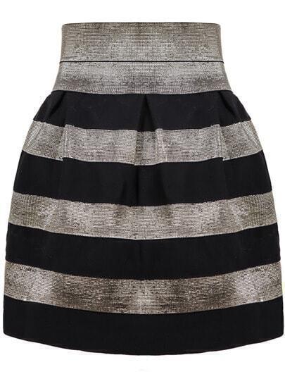 Black High Waist Striped Skirt
