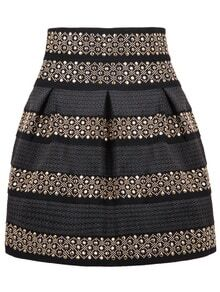 High Waist Rivet Studs Striped Skirt