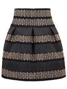 Black High Waist Rivet Studs Striped Skirt