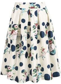 White Floral Polka Dot Midi Skirt -SheIn(Sheinside)