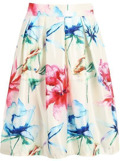 White Maple Leaf Print Midi Skirt