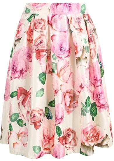 White Rose Print Midi Skirt