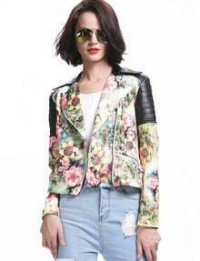 Green Contrast PU Leather Floral Print Crop Jacket