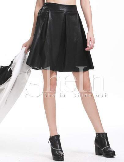 Black PU Leather Elastic Waist Pleated Skirt