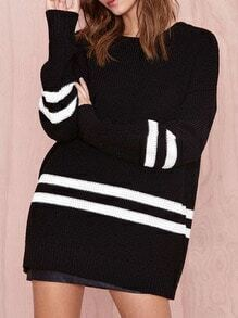 Black Contrast White Long Sleeve Loose Sweater